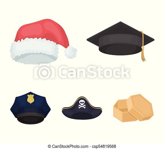 4b76fee866b Graduate, santa, police, pirate. Hats set collection icons in cartoon style  vector symbol stock illustration web.