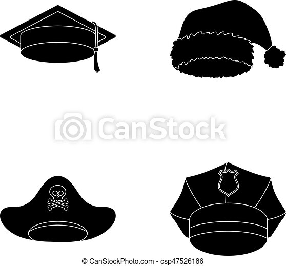 d762811adf0 Graduate, santa, police, pirate. Hats set collection icons in black style  vector symbol stock illustration web.
