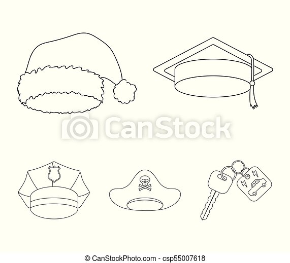 7d54fbb799f Graduate, santa, police, pirate. Hats set collection icons in outline style  vector symbol stock illustration web.