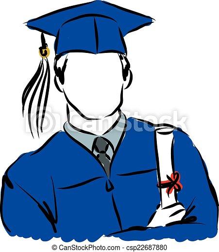 graduate student illustration vector search clip art illustration rh canstockphoto com S Tudents Graduate Diploma Clip Art Student Success Clip Art
