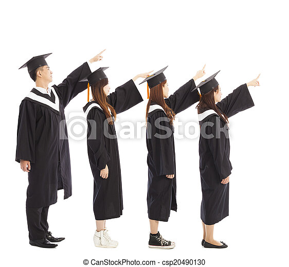 graduate students standing a row and pointing the same  - csp20490130