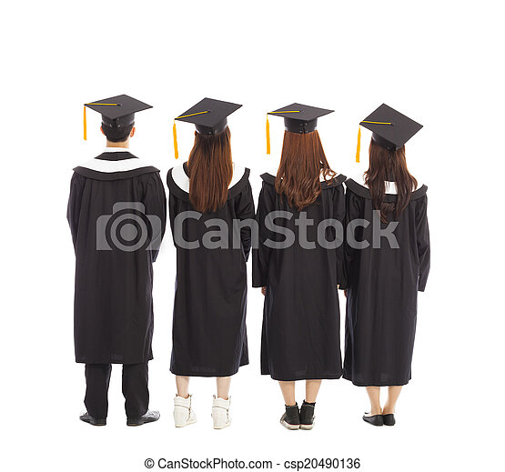 graduate students standing a row. isolated on a white  - csp20490136