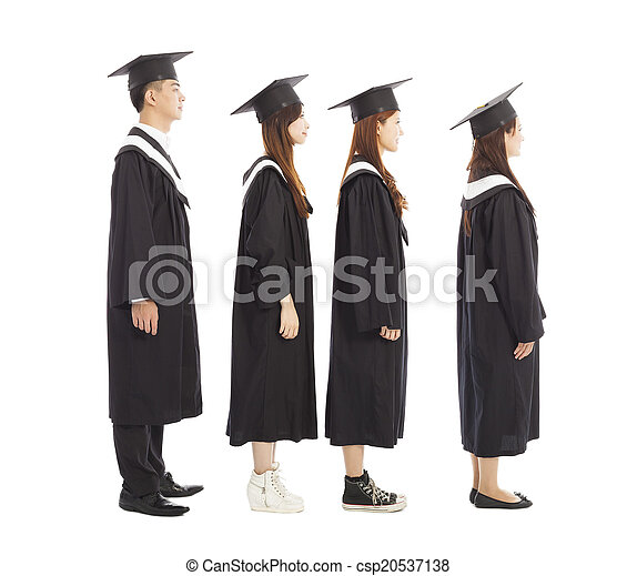 graduate students standing a row.isolated on white - csp20537138