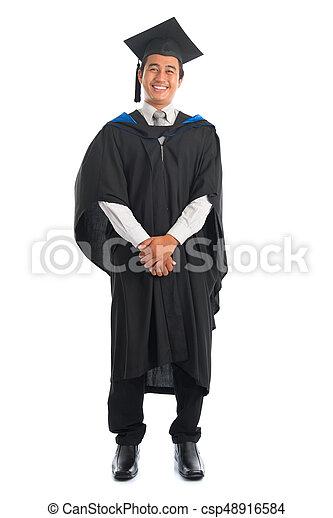 1279ef02cb5 Graduate university student full length. Full body happy asian male ...