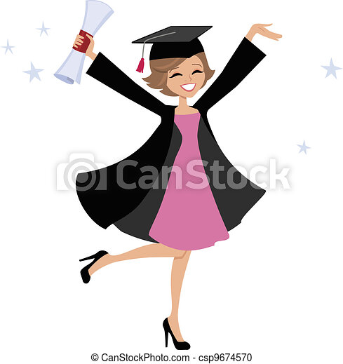 Graduate Woman Cartoon - csp9674570