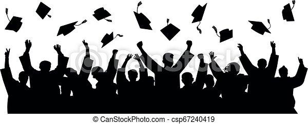 Graduates throwing cap. Silhouette high achievements. School student hat vector - csp67240419