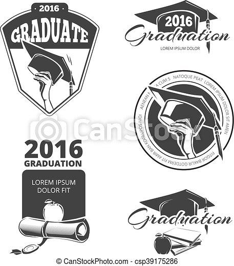 Graduating class vector badges, emblems. T-shirt design - csp39175286