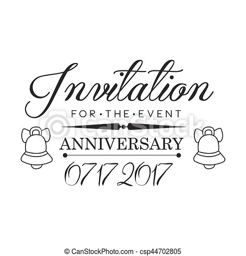 Graduation anniversary party black and white invitation card graduation anniversary party black and white invitation card design template with calligraphic text csp44702805 stopboris Gallery