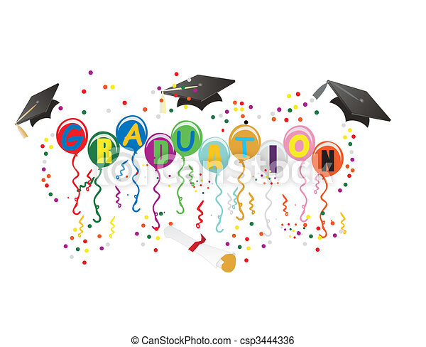 Graduation Ballons for celebration illustration - csp3444336