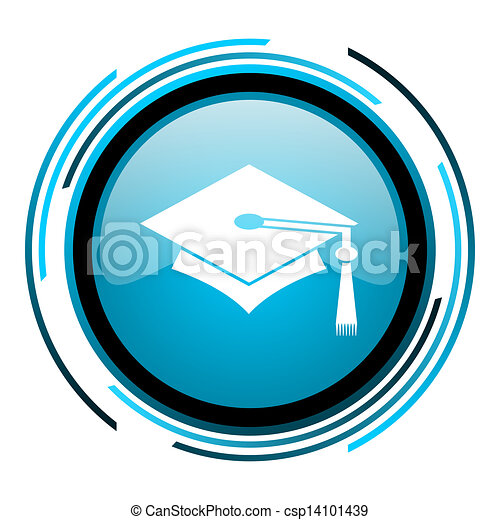 graduation blue circle glossy icon - csp14101439