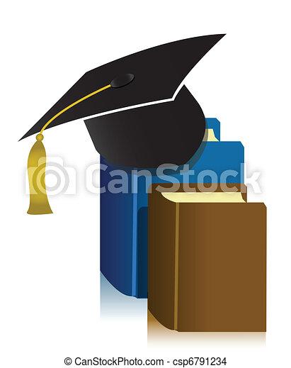 graduation cap and book - csp6791234