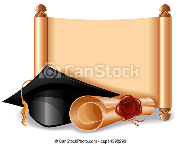 Graduation cap and diploma - csp14398290
