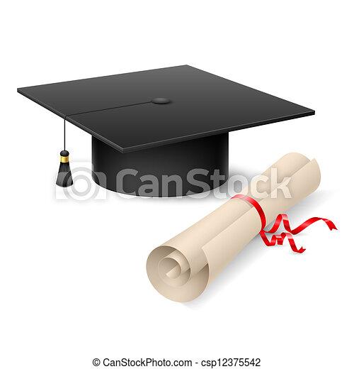 Graduation cap and diploma - csp12375542