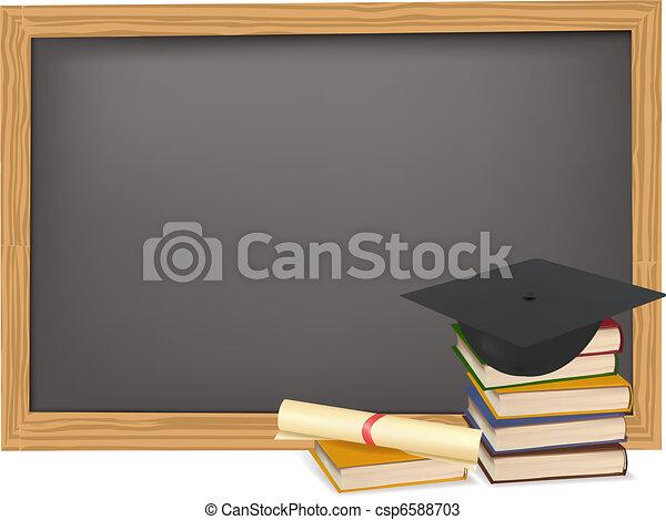 Graduation cap and diploma - csp6588703