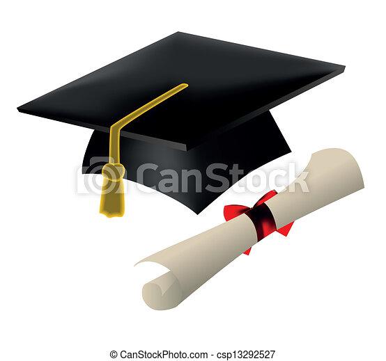 Graduation cap and diploma - csp13292527