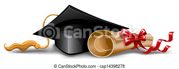 Graduation cap and diploma - csp14398278