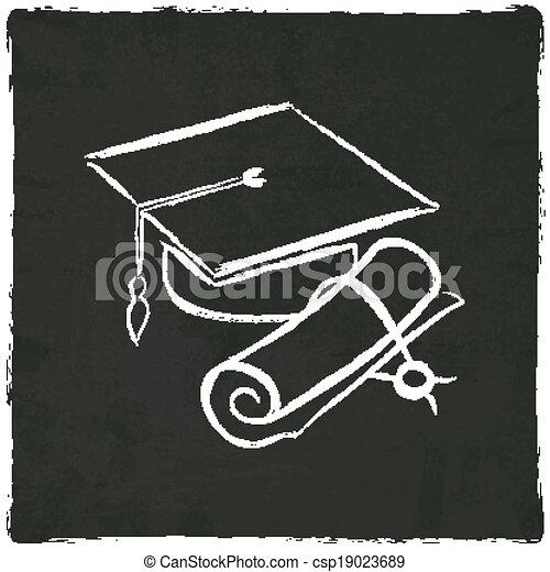 Graduation cap and diploma on old background - csp19023689