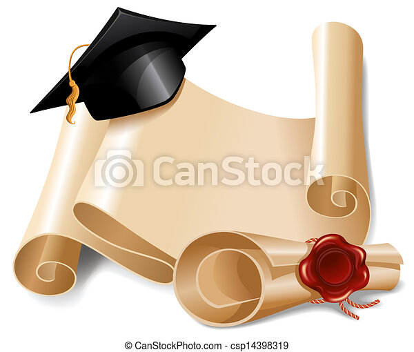 Graduation cap and diploma - csp14398319