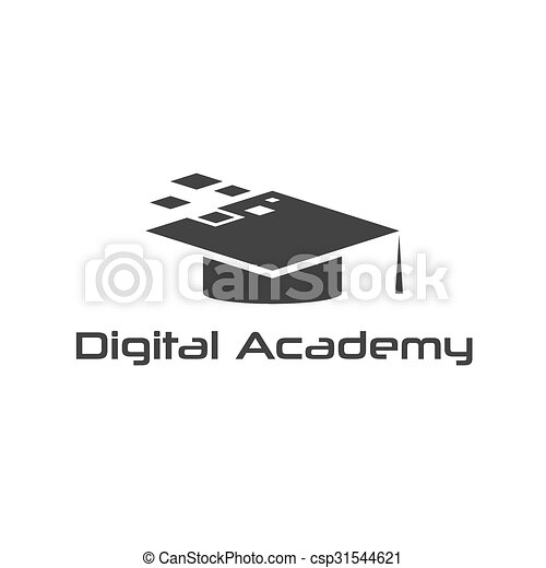 graduation cap of digital academy vector design template