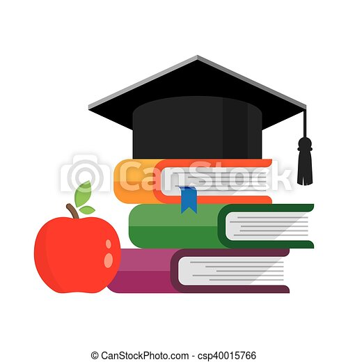 Graduation Cap On Books Stacked Mortar Board With Pile Of Vector