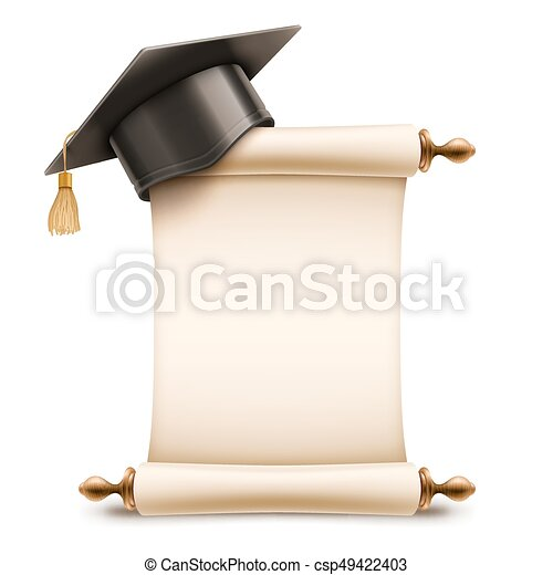 Graduation Cap on Diploma Scroll - csp49422403