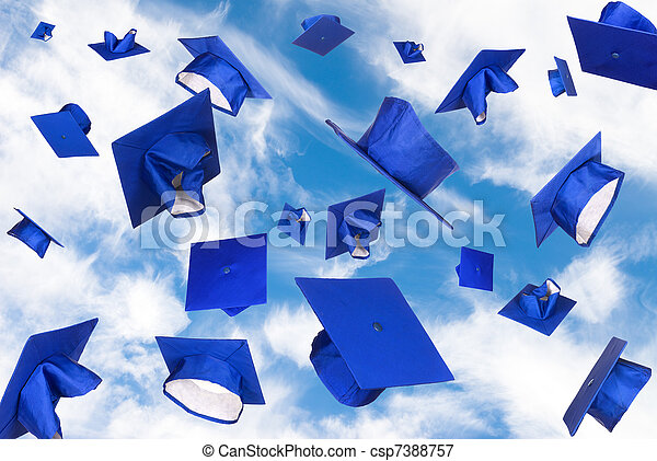 Graduation caps in flight - csp7388757