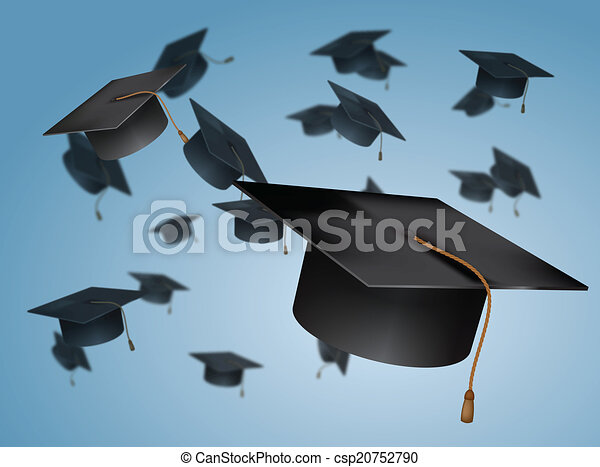 Graduation Caps Thrown in the Air - csp20752790