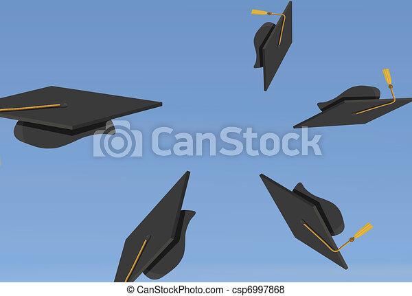 Graduation Caps Thrown in the Air - csp6997868