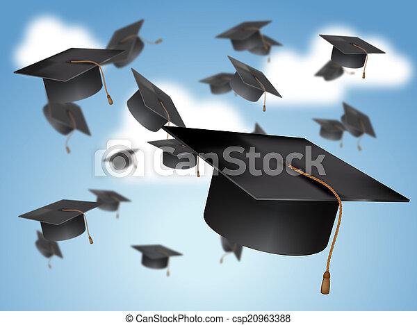 Graduation Caps Thrown in the Air - csp20963388