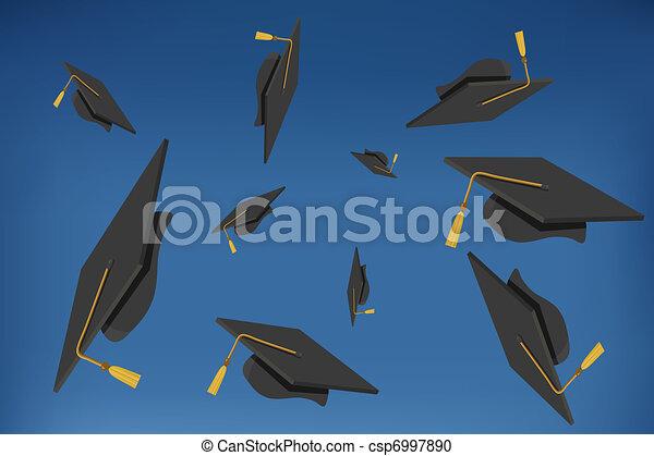 Graduation Caps Thrown in the Air - csp6997890