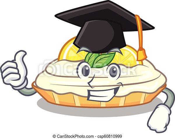 Graduation Cartoon Lemon Cake With Lemon Slice Vector Illustration