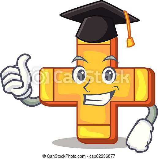Graduation cartoon plus sign logo concept health - csp62336877