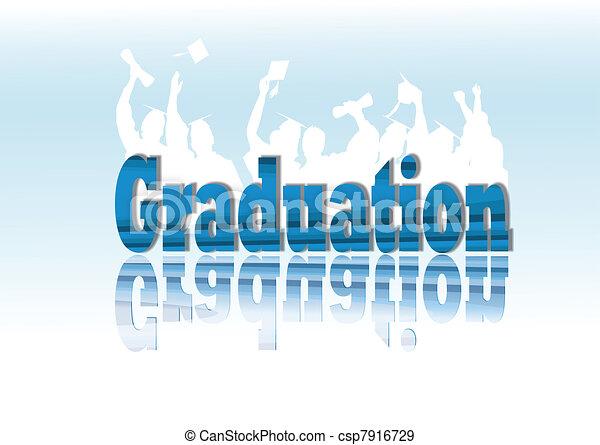 Graduation celebration in silhouette - csp7916729