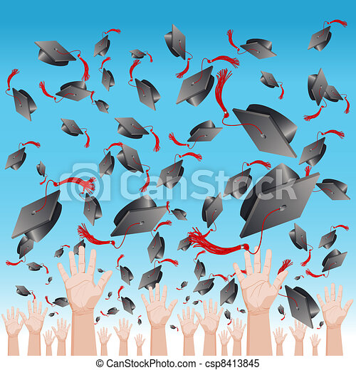 Graduation Day Cap Toss - csp8413845