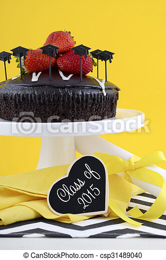 Graduation Day Party with Chocolate Cake.  - csp31489040