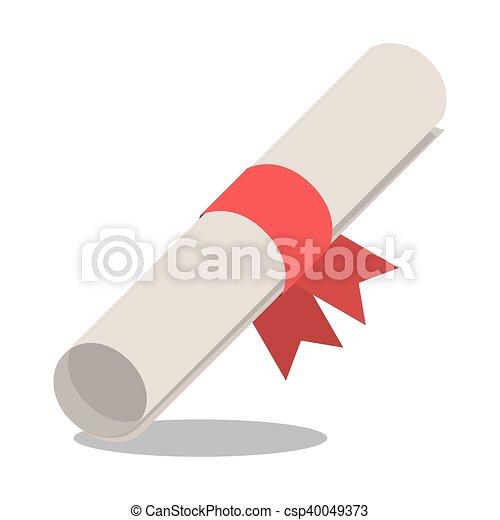 Graduation diploma with ribbon design - csp40049373