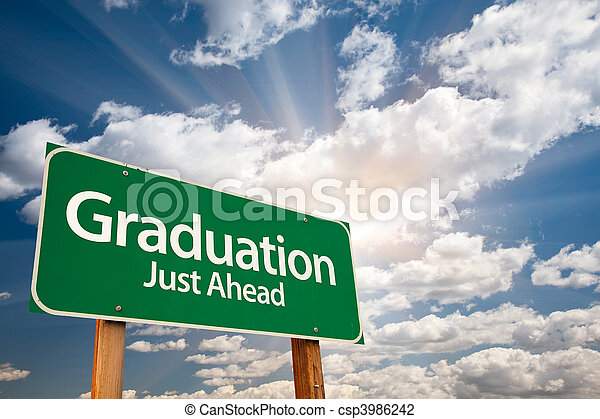 Graduation Green Road Sign Over Clouds - csp3986242
