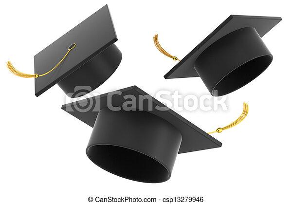 Graduation hat on white background - csp13279946