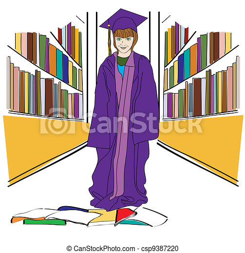 Graduation in the Library - csp9387220