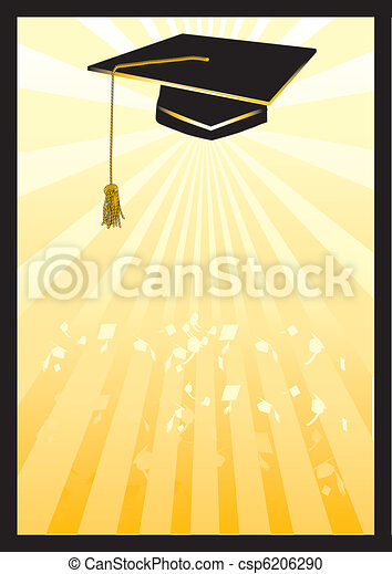 Graduation mortar card in yellow spotlight. - csp6206290
