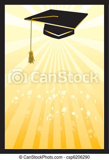 Graduation mortar card in yellow spotlight. - csp6206290