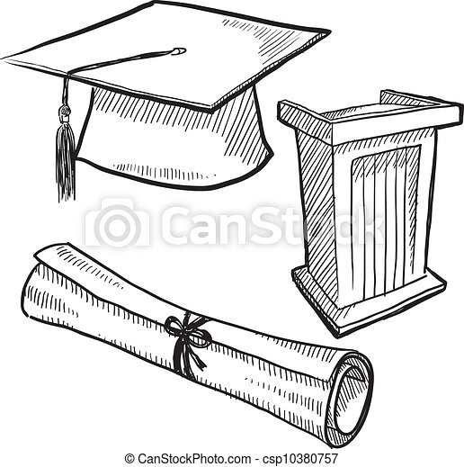 Graduation objects sketch - csp10380757