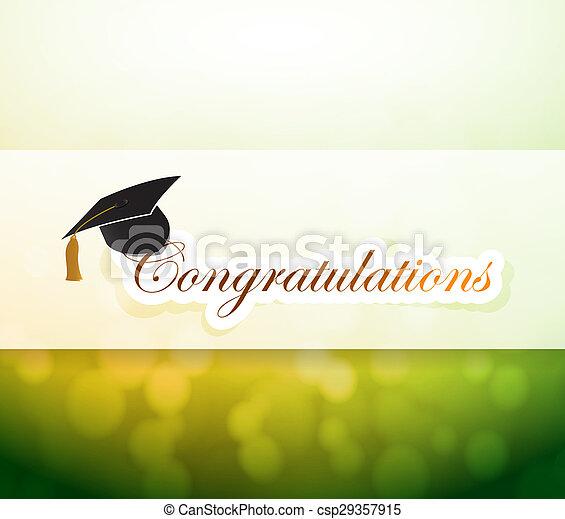 graduation., parabéns, luz, bokeh, sinal - csp29357915