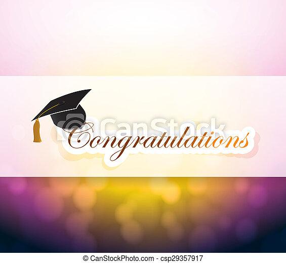graduation., parabéns, luz, bokeh, sinal - csp29357917