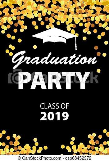 Graduation Party Invitation Card With Golden Confetti Glitter Graduation Cap And Black Background Vector Illustration