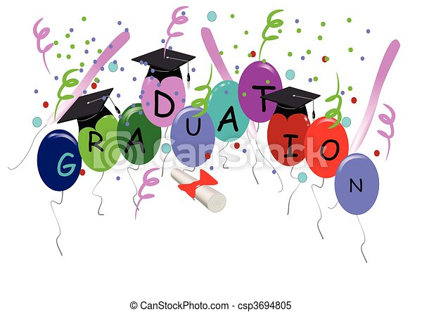 graduation with balloons on white - csp3694805