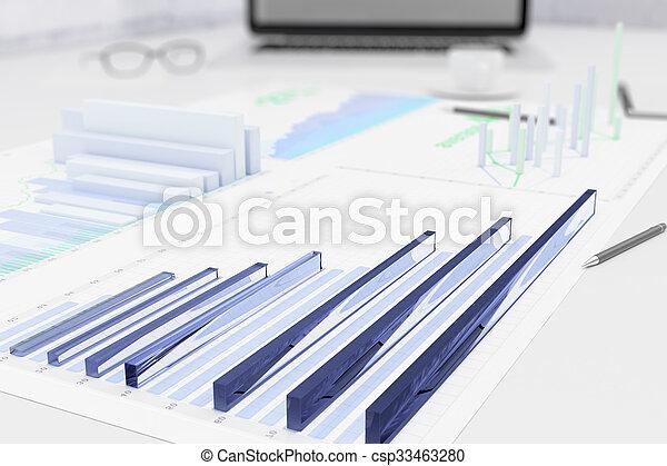 grafer, 3, bord, affär, papper - csp33463280