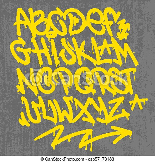 Alfabet Graffiti graffiti alphabet. set street type calligraphy design alphabet