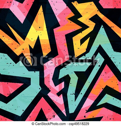 Graffiti bright psychedelic seamless pattern on a black background vector illustration - csp49518229
