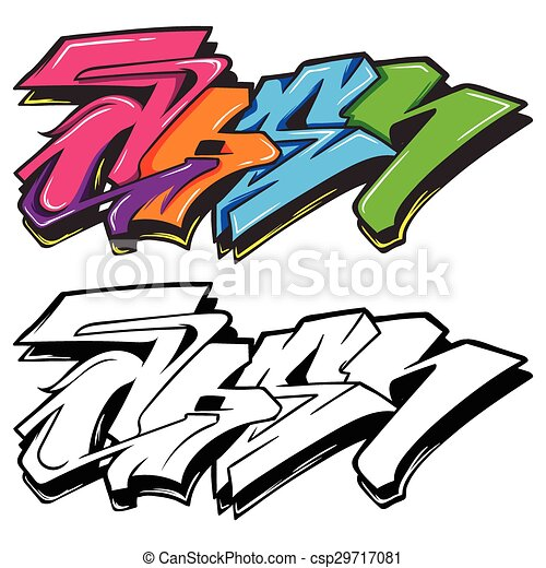 a cute cartoon colorful graffiti can use as background vector rh canstockphoto com graffiti vector generator graffiti vector pack free